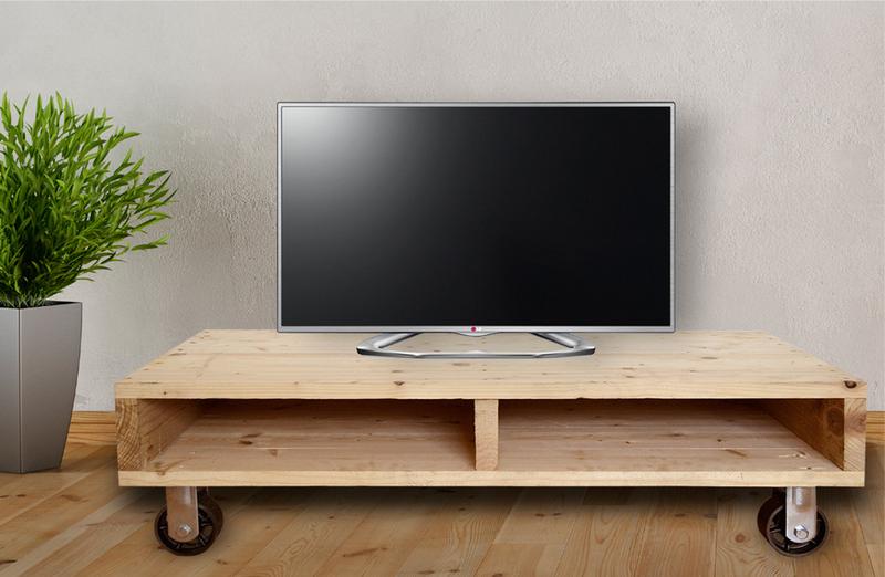 Mesa palet tv con ruedas de hierro 55 x 115 x 28 - Mesas con ruedas para tv ...